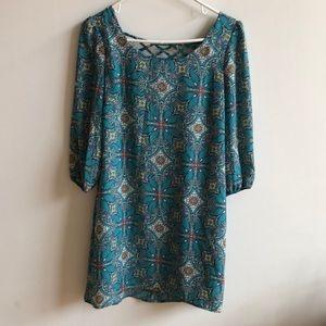 Turquoise Print Dress